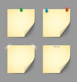 Yellow notice papers with pins and scotch vector image