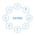 8 eating icons vector image vector image