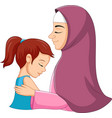 a muslim mother hugging her daught vector image vector image