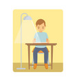 a young man reading the book on chair home vector image vector image