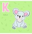 Alphabet letter K koala children vector image vector image
