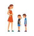 angry mother scolding her naughty sons vector image vector image