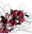 background with hand drawn azalea flowers vector image vector image