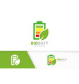 battery and leaf logo combination energy vector image