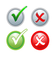 buttons sign check correct and incorrect vector image