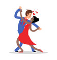 cartoon character couple dancing vector image vector image