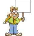 Cartoon hippie holding a sign vector image vector image