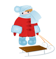 Cartoon kid with sled vector image vector image