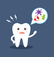 cartoon tooth tells about oral hygiene microbes vector image vector image