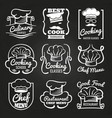 chef hat emblem - cafe restaurant or bakery logos vector image vector image