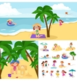 Children summer vacation Kids Playing sand around vector image vector image