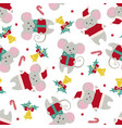 christmas or new year seamless pattern with cute vector image vector image