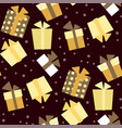 christmas seamless pattern with presents and snow vector image