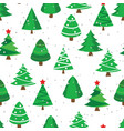 christmas tree seamless with red star for fabric vector image vector image