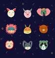 colorful set of nine funny animals heads vector image