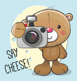 cute cartoon teddy bear with a camera vector image vector image