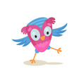 cute funny owlet sweet owl bird cartoon character vector image