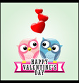 Cute romantic owls and hearts vector image vector image