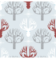 Deer and trees print vector image