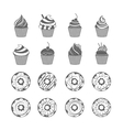 Donut Cupcake Icons vector image vector image