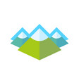 emblem with rocky landscape of alpine mountains vector image vector image