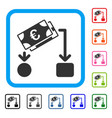euro cash flow framed icon vector image vector image