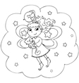Fairy lady flying in a starry night vector image vector image