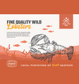 fine quality organic seafood abstract food vector image