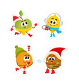 flat winter fuits icon set vector image vector image