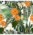 floral fashion tropic wallpaper with palm vector image vector image