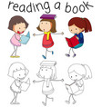 girl and book character vector image vector image