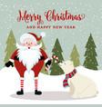 gorgeous christmas card with santa and polar bear vector image vector image
