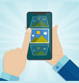 hand holding smartphone with photo icons on a vector image vector image