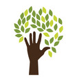 hand human silhouette with leafs vector image