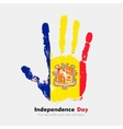 Handprint with the Flag of Andorra in grunge style vector image vector image