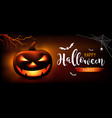 happy halloween message pumpkins ghost bat vector image vector image