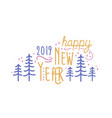 happy new year 2019 phrase handwritten with vector image