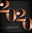 happy new year gold copper 2020 number card vector image vector image