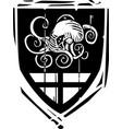 heraldic shield kraken vector image vector image