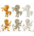 horse anb lion 3d and engraving styles vector image