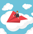 Isometric businessman on paper airplane