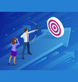 isometric businessman shooting a bow and arrow vector image