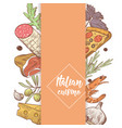 italian cuisine sketch doodle food menu design vector image