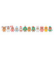 kids holding hand in christmas costumes vector image vector image