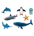 Marine wildlife colored animal characters vector image vector image