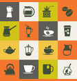multicolor coffee icons set vector image vector image