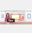 museum guide holding open sign board coronavirus vector image vector image