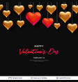 red and golden 3d heart balloons and text vector image