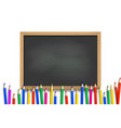 school pencils on blackboard background vector image vector image