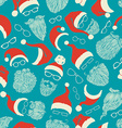 Seamless pattern of Santa hats moustache beards